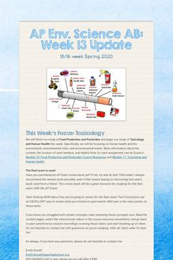 AP Env. Science AB: Week 13 Update
