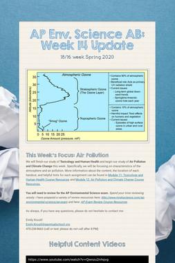 AP Env. Science AB: Week 14 Update