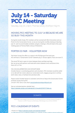 July 14 - Saturday PCC Meeting