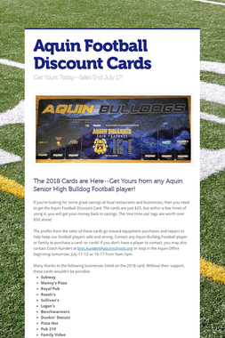 Aquin Football Discount Cards