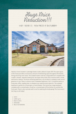 Huge Price Reduction!!!