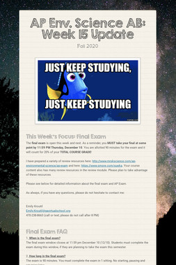 AP Env. Science AB: Week 17 Update
