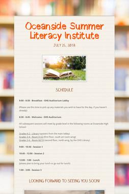 Oceanside Summer Literacy Institute