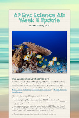 AP Env. Science AB: Week 4 Update