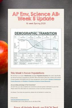 AP Env. Science AB: Week 5 Update