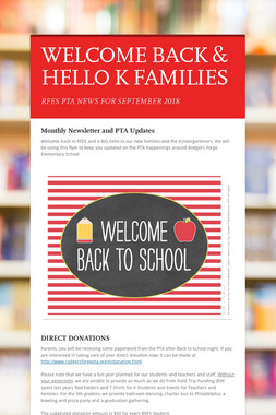 WELCOME BACK & HELLO K FAMILIES