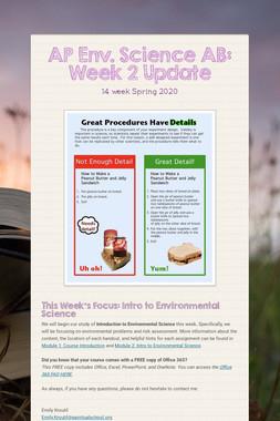 AP Env. Science AB: Week 2 Update