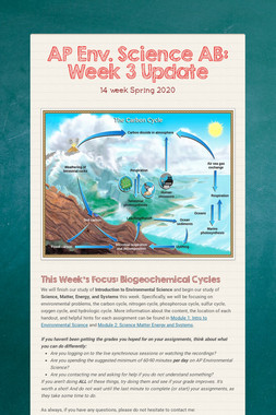 AP Env. Science AB: Week 3 Update