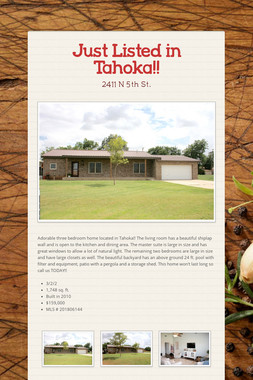 Just Listed in Tahoka!!