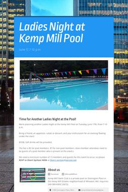 Ladies Night at Kemp Mill Pool