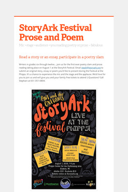 StoryArk Festival Prose and Poem