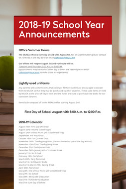 2018-19 School Year Announcements