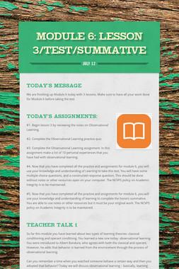 MODULE 6: Lesson 3/Test/Summative