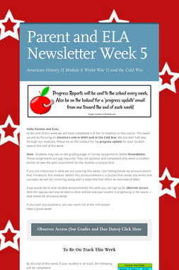 Parent and ELA Newsletter Week 5