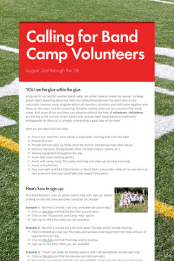 Calling for Band Camp Volunteers