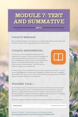 MODULE 7: Test and Summative