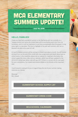 MCA Elementary Summer Update!