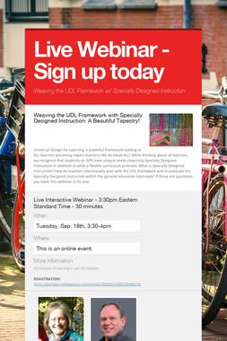 Live Webinar - Sign up today