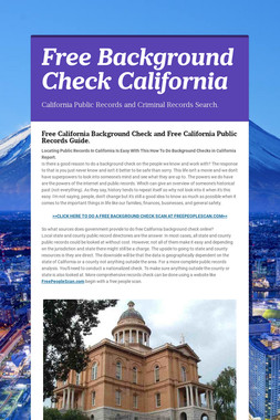 Free Background Check California