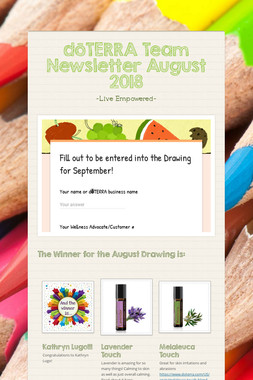 dōTERRA Team Newsletter August 2018