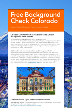 Free Background Check Colorado