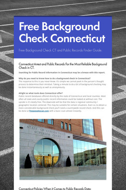 Free Background Check Connecticut