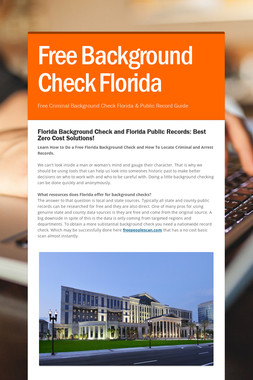 Free Background Check Florida