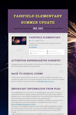 Fairfield Elementary Summer Update