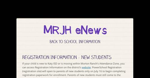 Mrjh Enews Smore Newsletters For Education