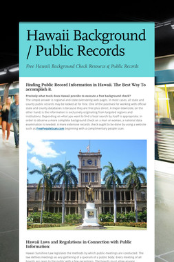 Hawaii Background / Public Records