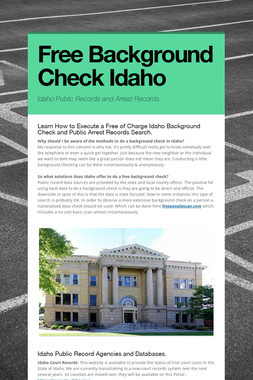 Free Background Check Idaho