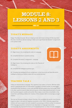 MODULE 8: Lessons 2 and 3