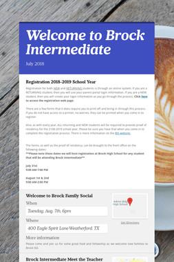 Welcome to Brock Intermediate