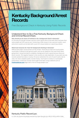 Kentucky Background/Arrest Records