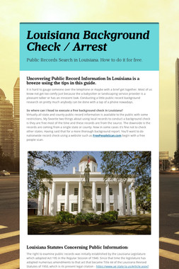 Louisiana Background Check / Arrest