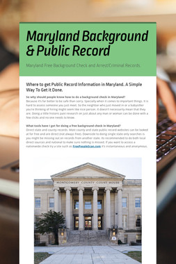 Maryland Background & Public Record