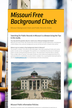 Missouri Free Background Check