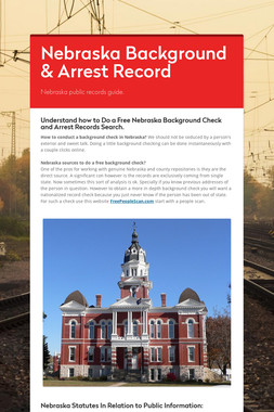 Nebraska Background & Arrest Record