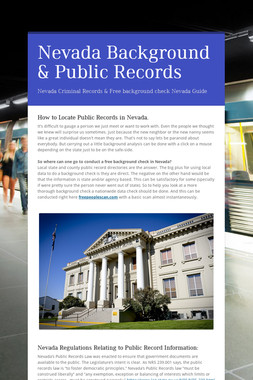 Nevada Background & Public Records