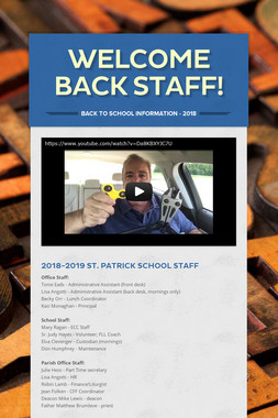 Welcome Back Staff!