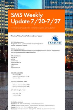 SMS Weekly Update 7/20-7/27