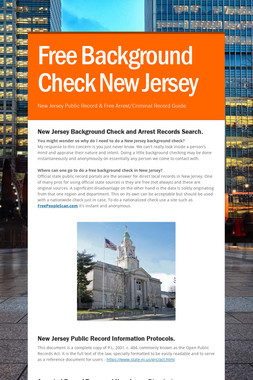 Free Background Check New Jersey
