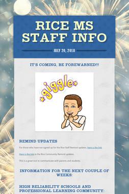 Rice MS Staff Info