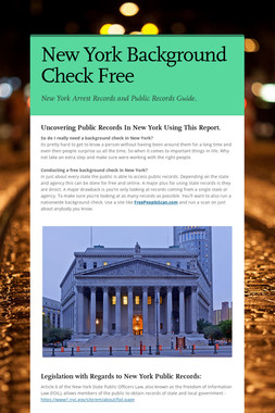 New York Background Check Free
