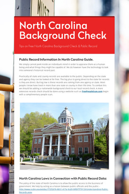 North Carolina Background Check