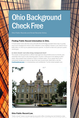 Ohio Background Check Free