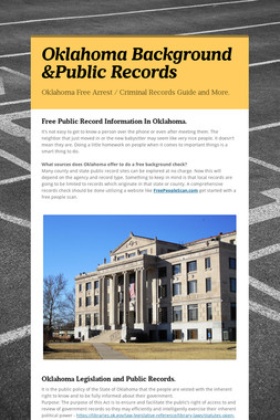 Oklahoma Background &Public Records
