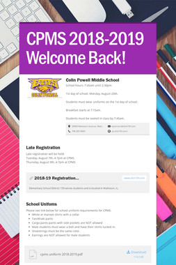 CPMS 2018-2019 Welcome Back!