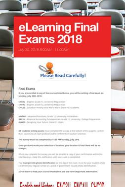 eLearning Final Exams 2018
