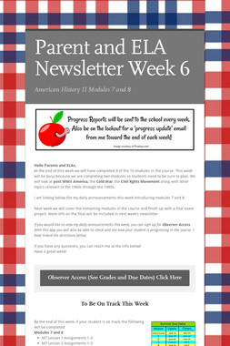Parent and ELA Newsletter Week 6